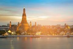 Bangkok Thailand landmark called Arun temple. River front during sunset Royalty Free Stock Photo