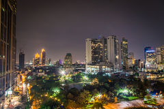 Bangkok Thailand landscape in night time; building and architecture in asia Stock Image