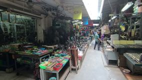Bangkok, Thailand - Maart 5, 2018: Algemene mening van amulettenmarkt in Tha Phra Chan, Bangkok stock videobeelden