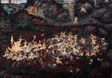 Bangkok, Thailand - 18. Mai 2019: Die Wandmalereien Ramakian Ramayana entlang den Galerien des Tempels Emerald Buddhas, stockfoto