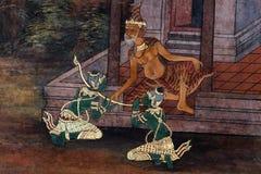 Bangkok, Thailand - 18. Mai 2019: Die Wandmalereien Ramakian Ramayana entlang den Galerien des Tempels Emerald Buddhas, stockfotos