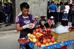 Bangkok, Thailand: Man Selling Pomegranate Juice on Street Stock Photo
