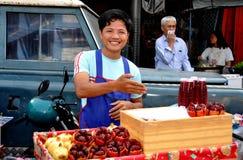 Bangkok, Thailand: Man Selling Pomegranate Juice Stock Photography