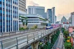 BTS skytrain is an elevated rapid transit system in Bangkok. BANGKOK, THAILAND - Mar. 8, 2018 : Bangkok Mass Transit System or BTS skytrain is an elevated rapid Royalty Free Stock Photo