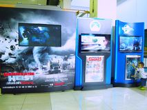 Movie backdrop scene. BANGKOK, THAILAND - MAR, 04: Movie advertising backdrop with monitor screen for present trailer in front of the cinema represent represent royalty free stock image