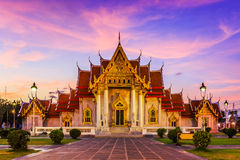 Bangkok, Thailand. The Marble Temple, Wat Benchamabopit Dusitvanaram at sunset stock photo