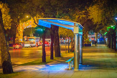Bangkok, Thailand - March 2, 2017: Alone bus stop on Ratchadamno Royalty Free Stock Photography