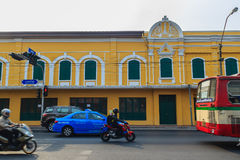 Bangkok, Thailand - March 2, 2017: Beautiful old Correctional Mu. Seum buildings, view from Mahachai road with traffic jam in Bangkok nearby Rommaneenat Park Stock Images