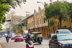 Bangkok, Thailand - March 2, 2017: Beautiful old Correctional Mu. Seum buildings, view from Mahachai road with traffic jam in Bangkok nearby Rommaneenat Park Royalty Free Stock Image