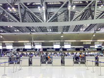 BANGKOK, THAILAND - MARCH 22: Check in counters in Suvarnabhumi Royalty Free Stock Photo