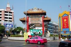 Colorful gates to Chinatown. BANGKOK, THAILAND - MARCH 23, 2012 - Colorful gates to Chinatown in Bangkok, Thailand Stock Image