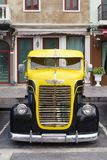 Bangkok, Thailand - March 31, 2018: Front of Antique Dodge Truck. The yellow and black classic retro vintage DODGE Pickup Truck parking at the car park in the stock photography