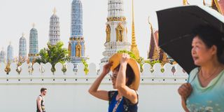 Grand Palace with blurred people in the foreground stock photos