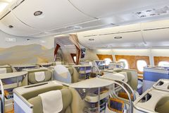 Emirates Airbus A380. BANGKOK, THAILAND - MARCH 31, 2015: interior of Emirates Airbus A380. Emirates is one of two flag carriers of the United Arab Emirates Stock Photo