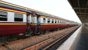 BANGKOK THAILAND - MARCH2,2018 : large number of train passenger waiting for traveling at Hua Lamphong important railway station i. BANGKOK THAILAND - MARCH2 stock footage
