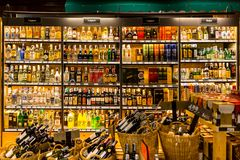 Liquors Spirits Wine Shop Alcohol Drinking Import Wine Selling in Super Market. Royalty Free Stock Image