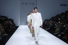Fashion Show of New Collection in Bangkok International Fashion Week 2019, BIFW`19. Bangkok, Thailand - March 29, 2019 ; Male Model walks in Fashion Show of royalty free stock photography