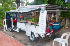 BANGKOK THAILAND - MARCH 29 : Mobile Shop a variety of drinks to Royalty Free Stock Images