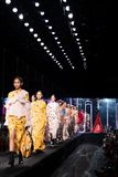 Fashion Show of New Collection in Bangkok International Fashion Week 2019, BIFW`19. Bangkok, Thailand - March 28, 2019 ; Model walks in Fashion Show Summer in ` royalty free stock image