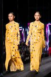 Fashion Show of New Collection in Bangkok International Fashion Week 2019, BIFW`19. Bangkok, Thailand - March 28, 2019 ; Model walks in Fashion Show Summer in ` stock photography