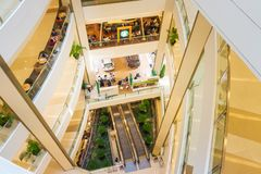 Bangkok, Thailand, March 2013 Modern interior of Siam Shopping Mall royalty free stock photos