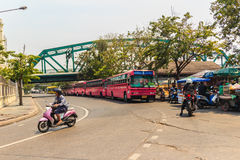 Bangkok, Thailand - March 2, 2017: Pink bus line number 8, start. Ing point from the memorial bridge (Saphan Phut) to Happy Land, Minburi. Bus nummber 8 line is Stock Photography