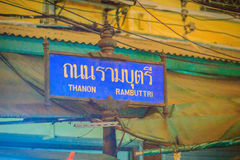 Bangkok, Thailand - March 2, 2017:  Rambuttri Alley signboard at Royalty Free Stock Image