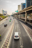 Bangkok, Thailand - March 8, 2017:  Smoothly traffic at Vibhavad. I Rangsit Road after passed the heavy traffic jamed from Ladprao junction Stock Photo
