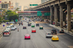 Bangkok, Thailand - March 8, 2017:  Smoothly traffic at Vibhavad. I Rangsit Road after passed the heavy traffic jamed from Ladprao junction Stock Image