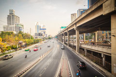 Bangkok, Thailand - March 8, 2017:  Smoothly traffic at Vibhavad. I Rangsit Road after passed the heavy traffic jamed from Ladprao junction Royalty Free Stock Photo