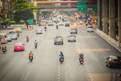 Bangkok, Thailand - March 8, 2017:  Smoothly traffic at Vibhavad. I Rangsit Road after passed the heavy traffic jamed from Ladprao junction Royalty Free Stock Image