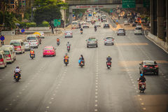 Bangkok, Thailand - March 8, 2017:  Smoothly traffic at Vibhavad. I Rangsit Road after passed the heavy traffic jamed from Ladprao junction Stock Photography
