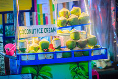 Bangkok, Thailand - March 2, 2017: Street food vendor selling c royalty free stock images