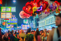 Bangkok, Thailand - March 2, 2017:  Street vendor is selling cut. E balloons at Khao San Road night market, Bangkok, Thailand Stock Photos