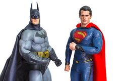 Bangkok, Thailand - March 30, 2016 : Studio shot of Batman and Superman figurine toys character from movie franchise. They are