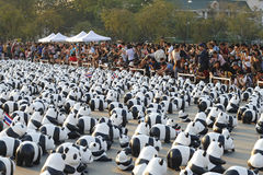 Bangkok, Thailand - March 4th, 2016:Exhibition of the 1,600 paper mache panda sculptures World Tour Exhibition at Royal Plaza Stock Image