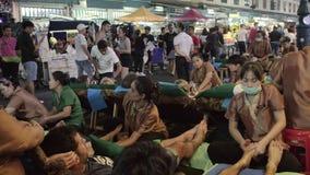Thai massage on Khao San Road in Bangkok, Thailand stock video footage