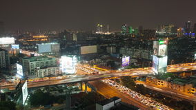 Bangkok, Thailand - March 25, 2016:Timelaps day to night Traffic on express way in Bangkok , Thailand. Timelapse day to night Traffic on express way in Bangkok stock video footage
