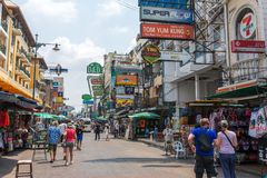 Tourists and backpackers walk on Khao San Road in Bangkok, Thailand. Stock Image