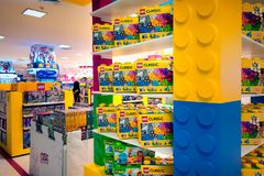 BANGKOK, THAILAND - MARCH 04: Various Lego sets in boxes on disp stock images