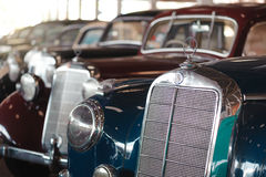 BANGKOK, THAILAND - MARCH 1, 2017: vintage retro mercedes cars parking in Jesada Car Museum Stock Photos