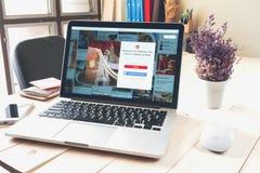 BANGKOK THAILAND - mars 05, 2017: Bärbar dator som visar social internettjänst Pinterest på skärmen är en online-pinboard det Arkivfoton