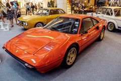 BANGKOK THAILAND, - MARS 11 2018: En tappningbil Ferrari 308 GTB: 1975-1985 visades i en klassisk motorisk show på den Seacon fyr Arkivbild