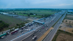 BANGKOK THAILAND - May 4: aerial view of car in paytoll of motorway check point eastern ringroad out skirt of bangkok  in on may 4. 2016 in bangkok thailand Stock Photo