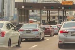 Bangkok, Thailand - May 23, 2017: The cars were queued on expres Royalty Free Stock Image