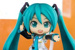 Bangkok, Thailand - May 6, 2017 : Character of Hatsune miku or cute toys in anime cartoon on display at Central World, Bangkok royalty free stock photography