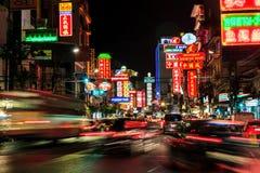 BANGKOK THAILAND - MAY 4 : China Town  at night long exposure of Royalty Free Stock Images