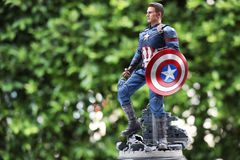 Close up of Captain America Civil War superheros figure actio stock images