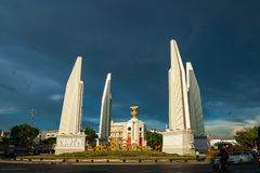 Bangkok, Thailand - May 3, 2019 : The Democracy Monument Anusawari Prachathipatai. It was started in 1939 to commemorate the. 1932 revolution that introduced stock photo