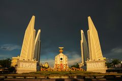 Bangkok, Thailand - May 3, 2019 : The Democracy Monument Anusawari Prachathipatai. It was started in 1939 to commemorate the. 1932 revolution that introduced stock photography